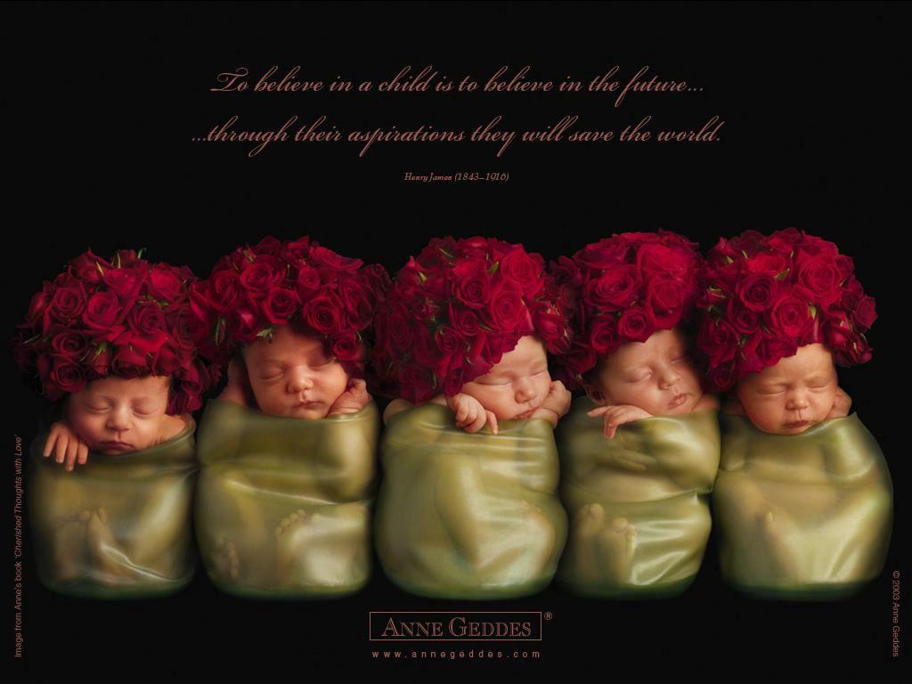 Anne Geddes- bébés roses